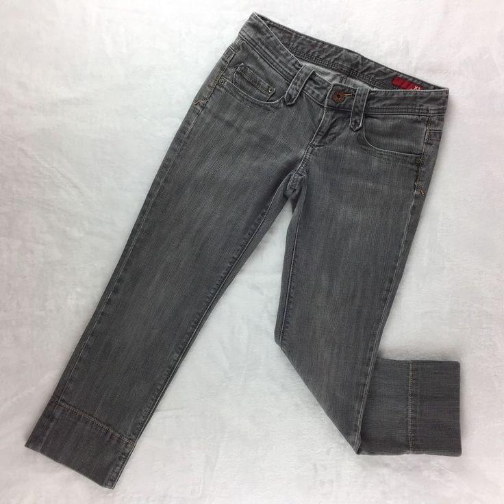 Womens X2 Quality Denim Cropped, Capri Jeans - Grey, Low Rise, Stretch - Size 0 #X2 #CapriCroppedSlimSkinnyStraightLegStretch