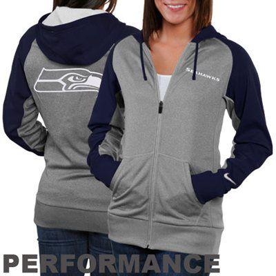 Nike Seattle Seahawks Ladies Die-Hard Full Zip Performance Hoodie - Ash/Steel Blue