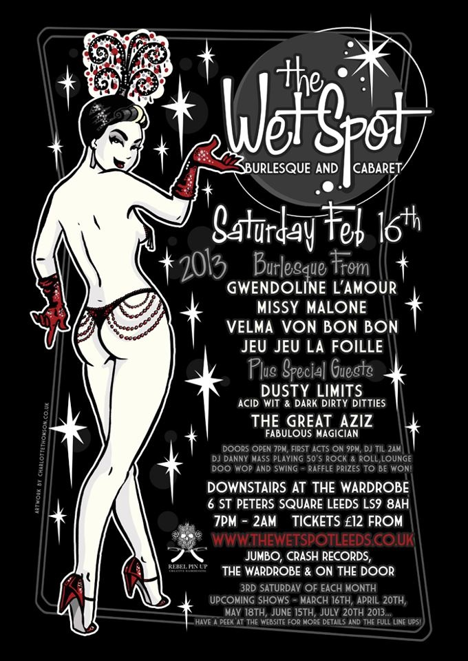 My Art and design work for The Wet Spot Leeds - pin up drawing of @Missy Malone