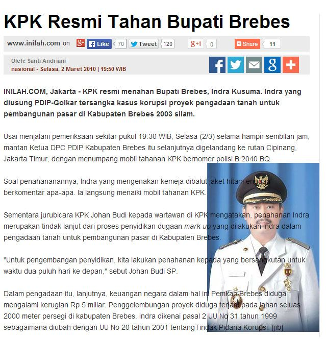 KPK Resmi Tahan Bupati Brebes #Pdip #golkar #korupsi http://nasional.inilah.com/read/detail/377262/kpk-resmi-tahan-bupati-brebes#.U7TQMvmSyEy