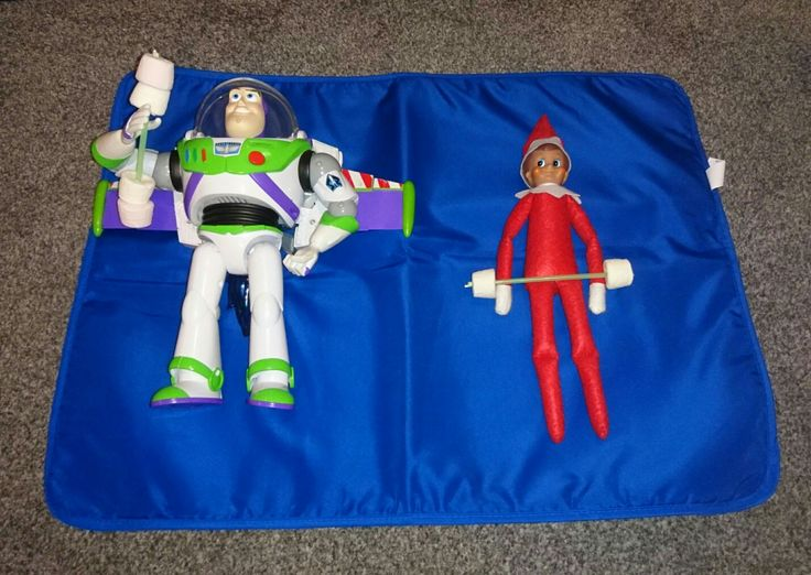 What can you lift bro? Elf on the shelf and Buzz lifting weights made from a straw and marshmallows 🏋💪👈