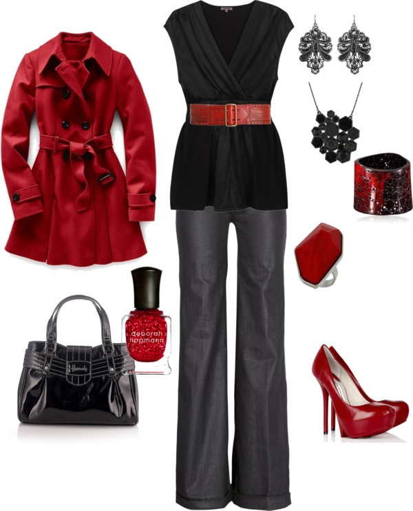 """black and red"" by kristen-344 ❤ liked on Polyvore"
