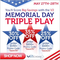 Last Day of the Memorial Day Sale of V2 Cigs Save an additional 35% off your purchase. #ecigs #eCigarettes #eLiquid #Vapor #Coupon #Discount #Sale Cigarrillos Electronicos V2, Cigarro Electronico.