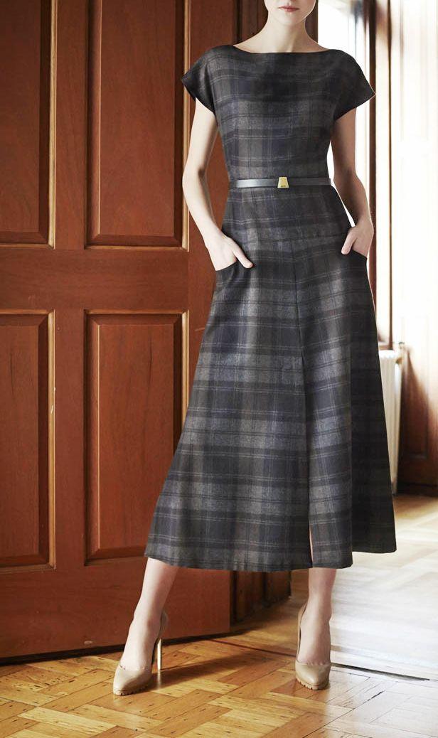 soft grey tartan dress