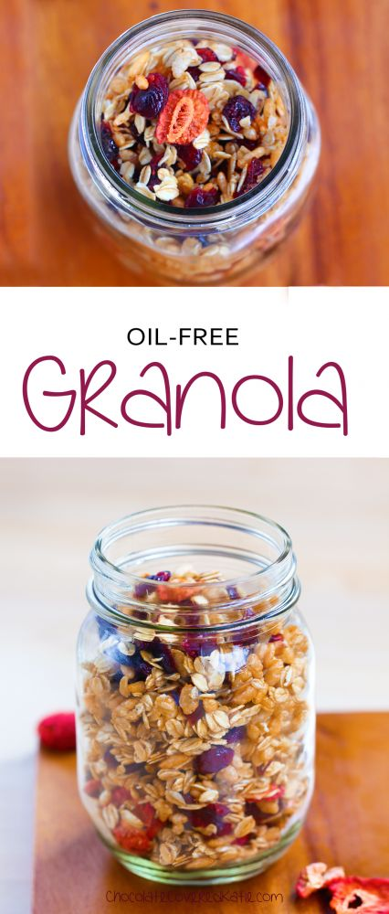 Oil-free, gluten-free, dairy-free, & refined-sugar-free. Recipe here: http://chocolatecoveredkatie.com/2015/04/09/low-fat-granola/