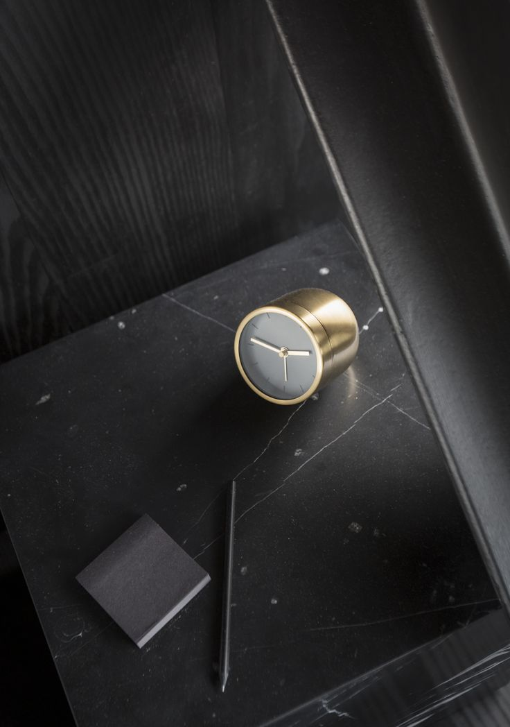 MENU | Tumbler Alarm Clock in Brushed Brass & Plint  Marble Cubic by Norm Architects