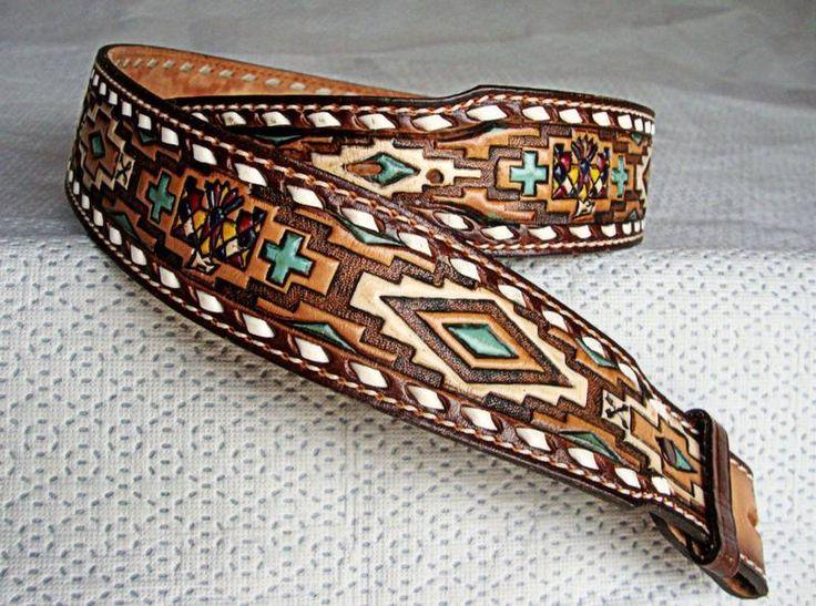 Tony Lama Belt (Men's Pre-owned Wide Western Leather Belt, Vintage Handpainted Eagle Diamond Design)