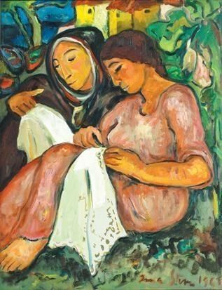 Irma Stern (1894-1966) ~ Women Sewing ~ 1963 ~ oil on canvas ~ Irma Stern was a South African painter who studied in Germany from 1913 to 1920. Her greatest influence was Expressionism and she played a huge role in introducing modern art to South Africa. There is a museum of her art located in Cape Town.