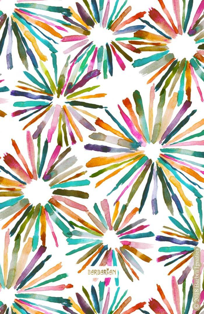 Fun Bursts Colorful Geometric Pattern Wallpaper Watercolor