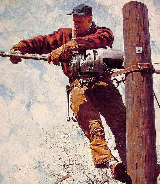 1949 ... the Lineman - Norman Rockwell | Flickr - Photo Sharing!
