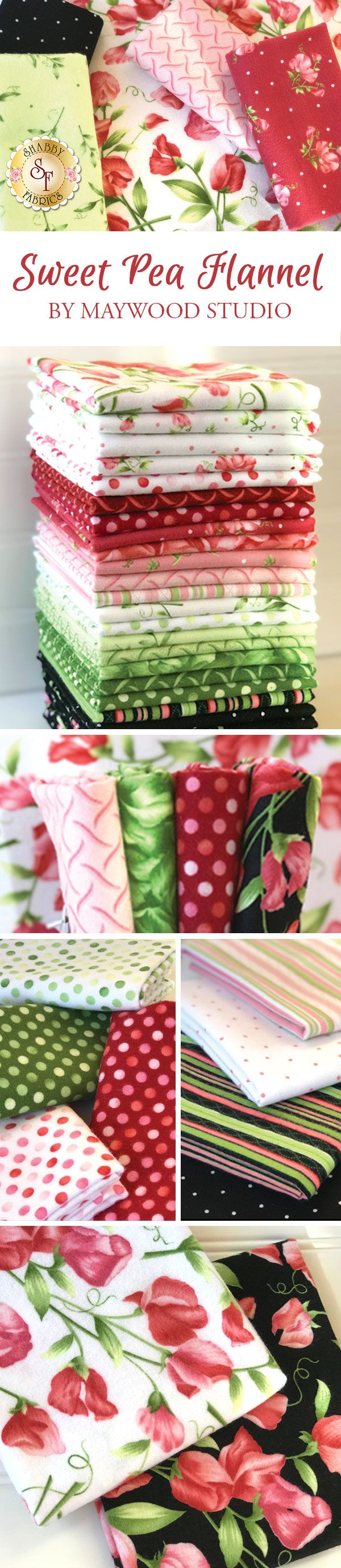 Sweet Pea Flannel from Maywood Studio Fabrics is an adorable flannel collection available at Shabby Fabrics