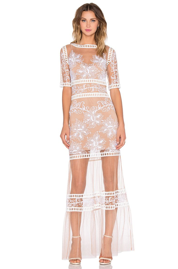 :: For Love & Lemons Desert Nights Maxi Dress in White & Nude ::