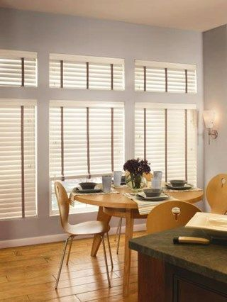 Kitchen White Neutral Wood Blinds