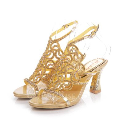 Women's Sandals Slingbacks Chunky Heel Leatherette Rhinestone Wedding Shoes