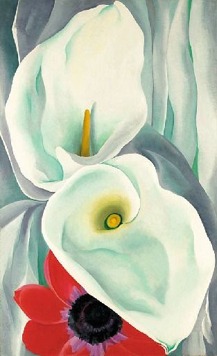 Georgia O'Keeffe. Calla Lilies with Red Anemones, 1928.