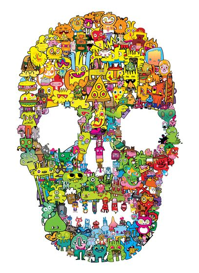 Jon Burgerman | http://jonburgerman.com/ this piece is a skull made up from the characters that jon burgerman has created. it is bright and vibrant using all colours to make this shape up, the design its self is eye-catching even without looking deeper into the picture to see the different little creatures. like most of his work it makes you look more deeper into his pictures to see more.