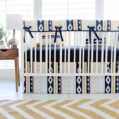 Aztec baby bedding is trendy and fun! This navy and gold baby bedding is from our Arid Horizon Crib Collection!