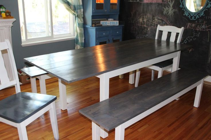 I had a black Ikea Bjursta table and black Ikea Bjursta benches. I love Ikea and all, but I wanted something more. Here's how I got my DIY Farmhouse Table.