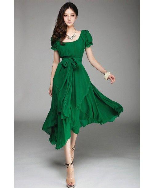 Воздушное шифоновое зеленое платье с рукавами-фонариками и бантом на поясе, в наличии большие размеры