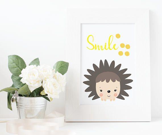Hedgehog print nursery decor digital download woodland
