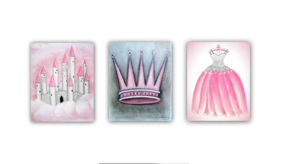 Girl Nursery decor Princess Castle Dress Crown Wall Art