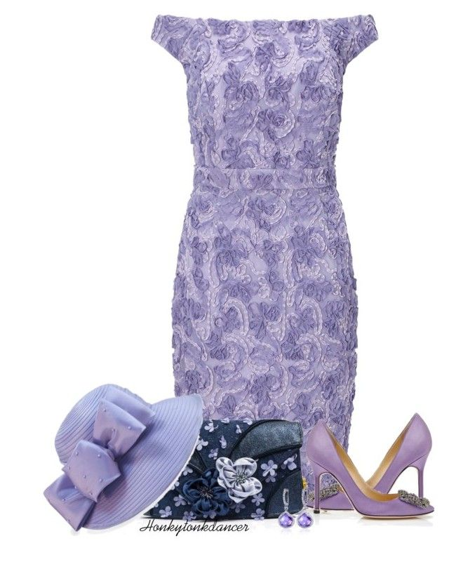 """Lilac Lace"" by honkytonkdancer ❤ liked on Polyvore featuring Ariella, Manolo Blahnik, Irregular Choice, F&M Hats and Belk & Co."