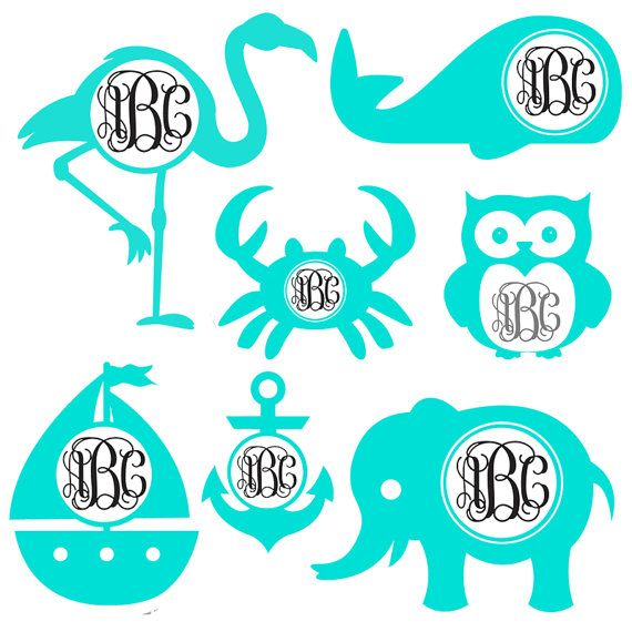 Preppy Pack - Monogram Frame Set Cutting Files in Svg, Eps, Dxf, Png, and Studio | Flamingo, Whale, Crab, Owl, Sailboat, Anchor and Elephant
