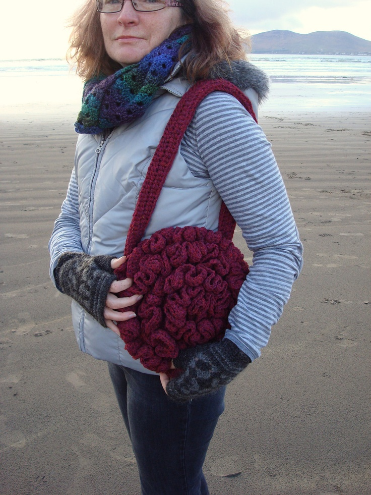 Ruffled Shoulder Bag Crochet Pure Wool Handmade in Ireland. $45.00, via Etsy.