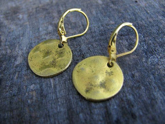 Simple golden disc earrings Hammered Brass by ZalewskaJewerly