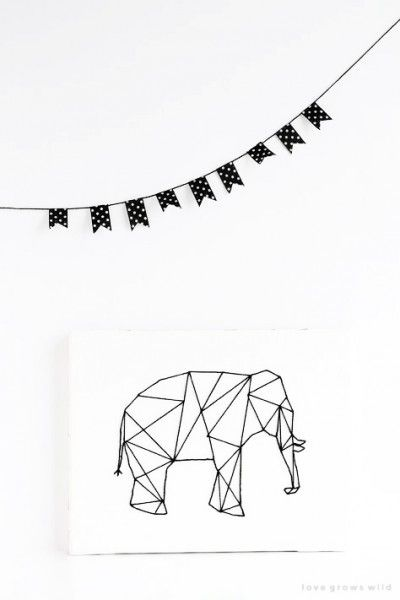Affiche éléphant cousue main