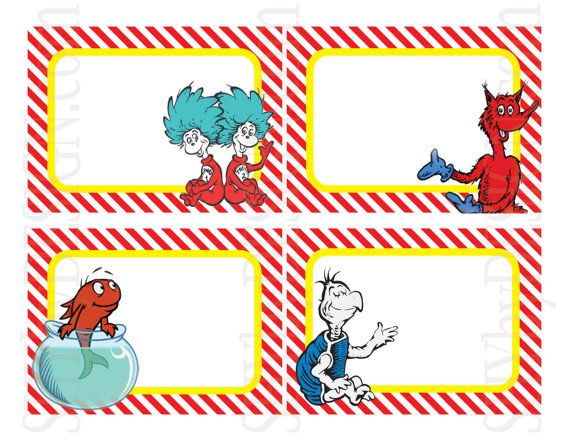 Set of 12 printable dr seuss name tags by shydesign on for Dr name tag template