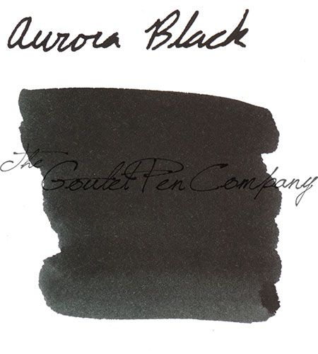 A 2ml sample of Aurora Black fountain pen ink, in a labeled plastic vial.