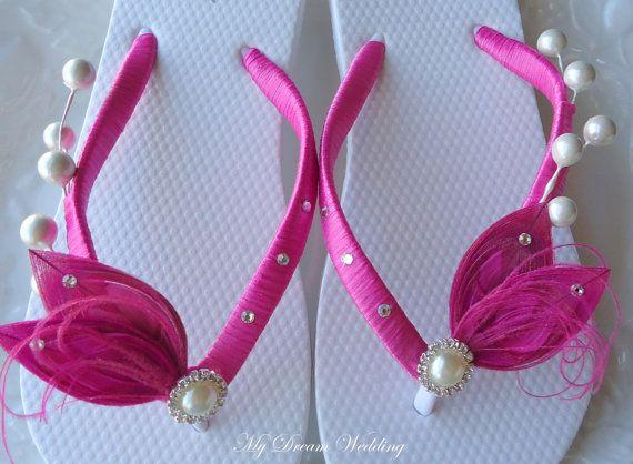 Hot Pink flip flops. Pink peacock Flip Flops by MyDreamWedding