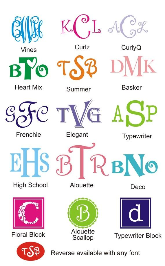 """6"""" Car Monogram...list font type and example"""