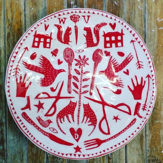 Sampler plate. The pigeon club pottery.  Www.vickylindo.co.uk