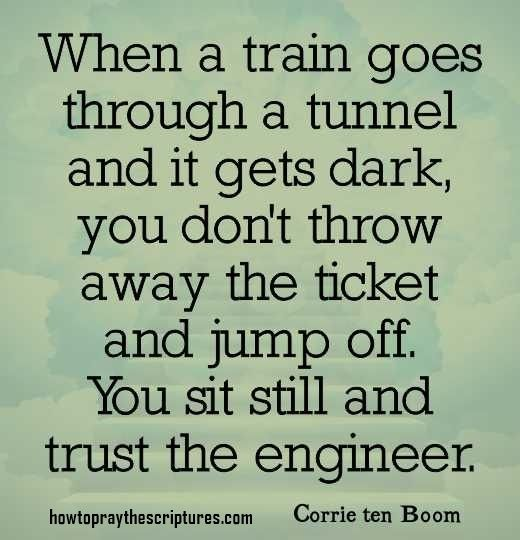 When a train goes through a tunnel and it gets dark, you don't throw away the ticket and jump off. You sit still and trust the engineer.
