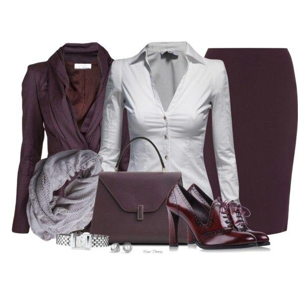 Aubergine office attire, created by madamedeveria on Polyvore