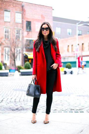 Red Coat Over All Black Outfit #redcoat #statementredcoat #allblack #blackskinnies #blacktrousers #blackjumpsuit #blackjumper #blacktop #blackhandbag #pointedheels