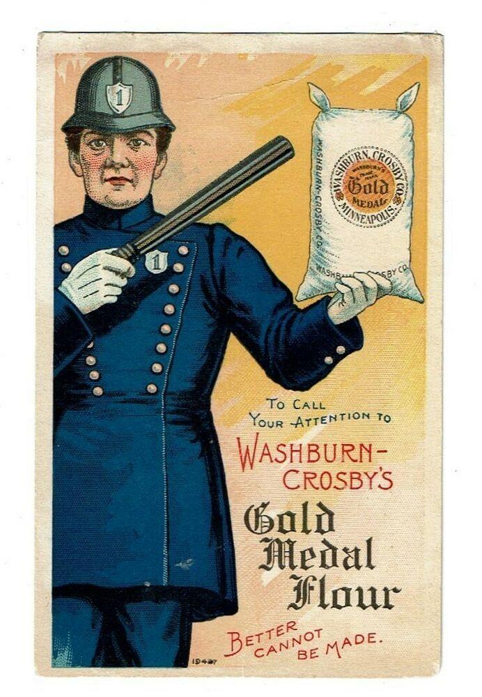 Trade Card Washburn Crosby's Flour w Darting Policeman в