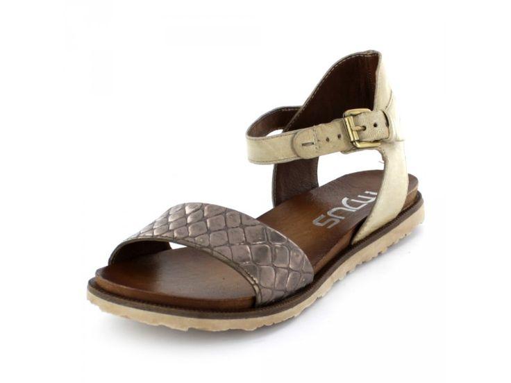 Mjus - Flache Damen Sandalette aus Leder mit Reptil-Print