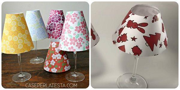 Come realizzare una lampada fai da te con bicchieri o calici da vino. Video tutorial con spiegazioni e modelli da stampare con diverse motivi floreali.