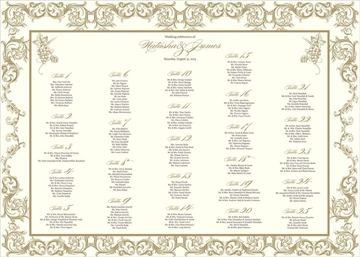 Our Gold Filigree Seating Chart might seem like it's suited for a large palace, but any venue will do. It features ornate gold borders and scrolling text.