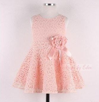 BNWT Pink Flower Girls A line Skater Lace Dress Age 1 2 3 4 5 Years