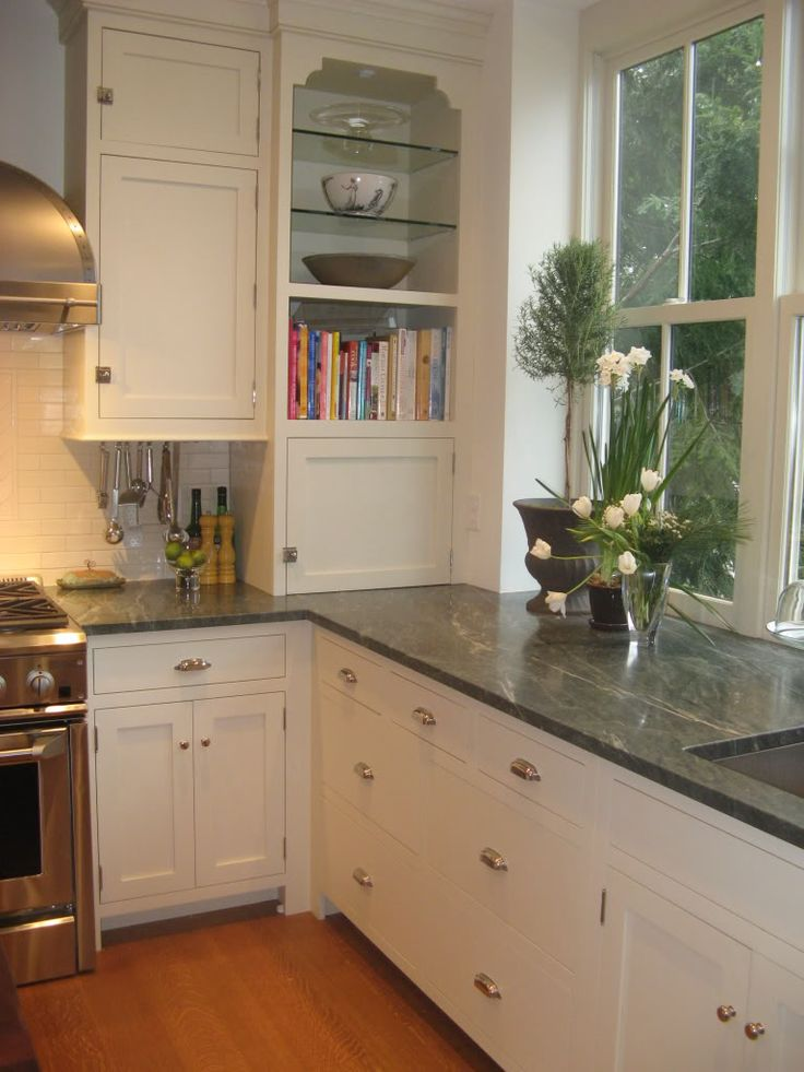 Green Granite with white cabinets