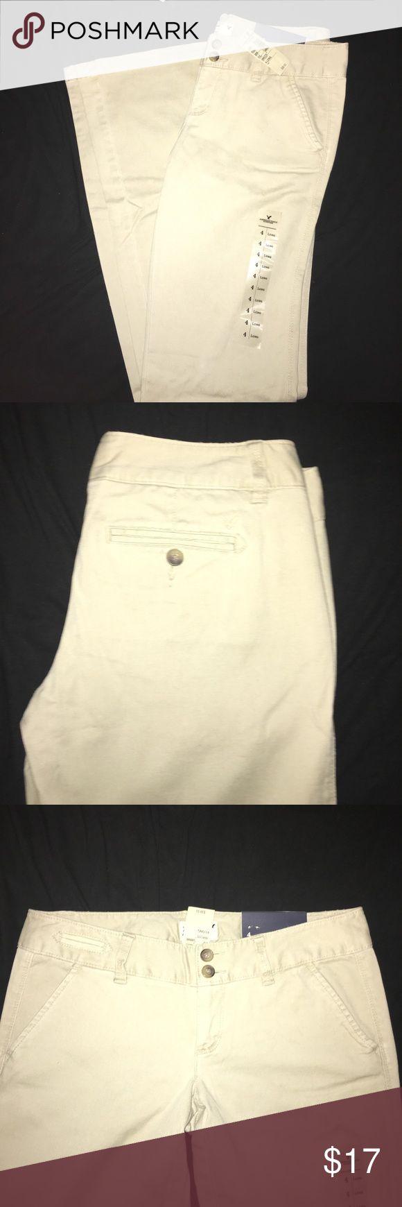 American Eagle Khakis American Eagle khaki pants, style- Artist Trouser, never been worn, tags are on, size 4 Long, wide leg American Eagle Outfitters Pants Wide Leg