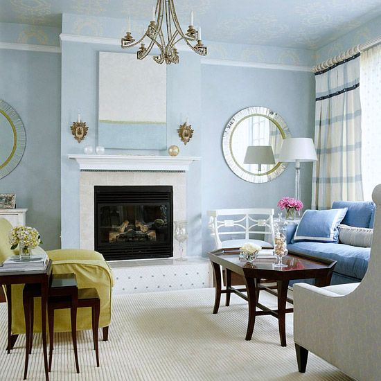 blue living rooms
