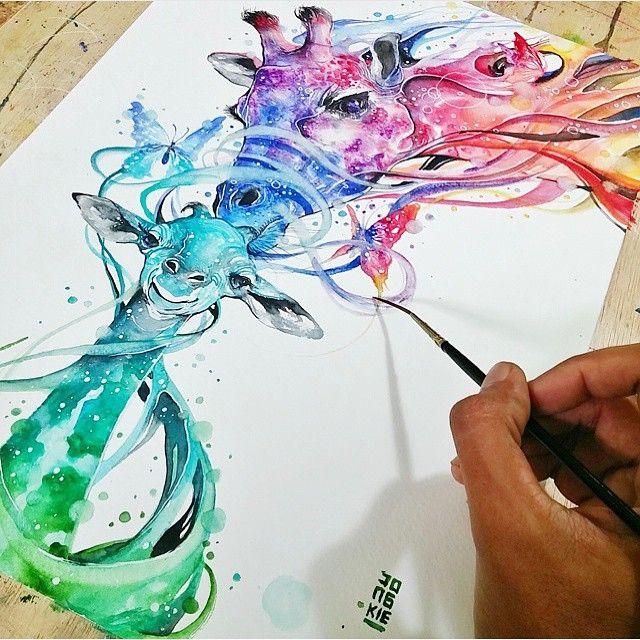 Watercolor giraffe fantasy Painting