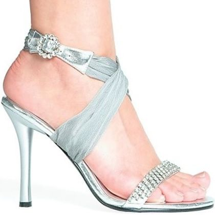 Elegant Silver Shoes with Rhinestones