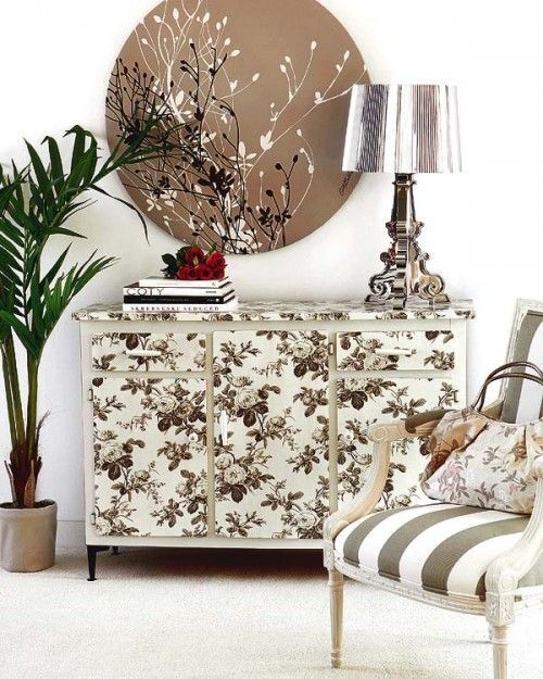 DIY Commode Renovation in Japanese Motifs made with Wallpaper and Transparent Glaze