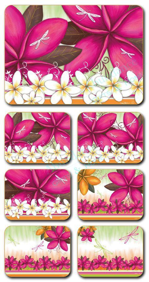 Summer Frangipani  Lisa Pollock Cork Backed Placemats - Set of 6 *NEW*